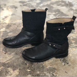 Rag & Bone Short Black Leather Motorcycle Boots